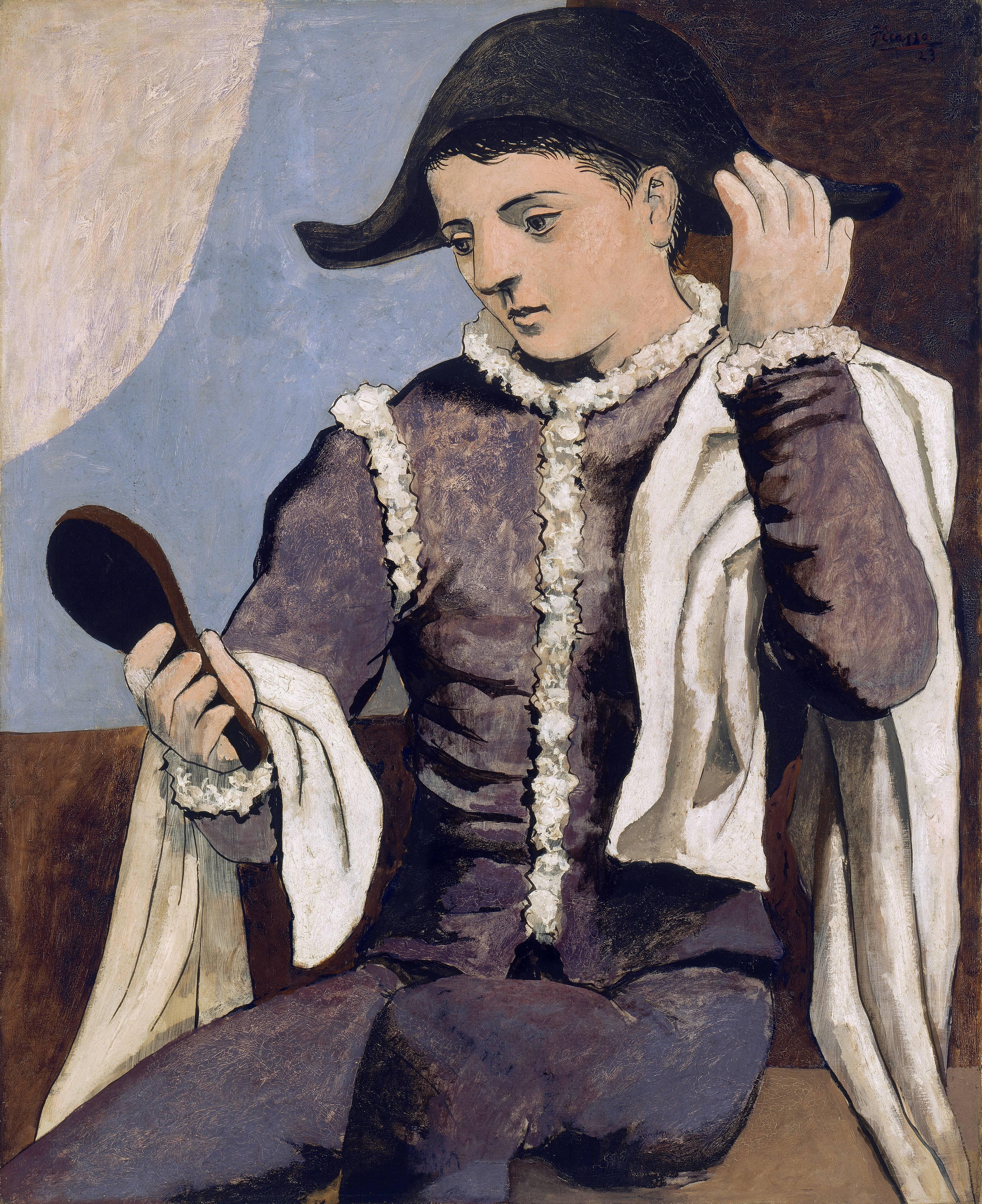 Pablo Ruiz Picasso Arlequín con espejo 1923 Óleo sobre lienzo. 100 x 81 cm Museo Thyssen-Bornemisza, Madrid © Sucesión Pablo Picasso, VEGAP, Madrid, 2016